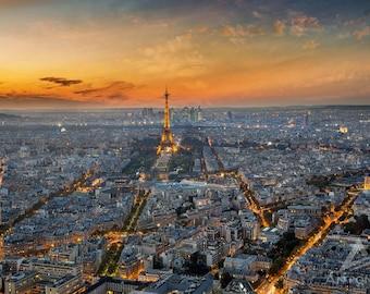 Paris Rooftops and the Eiffel Tower Sunset - 8x10 Fine Art, Print Paris Decor, Paris Print, Travel Photo Paris Decor Print
