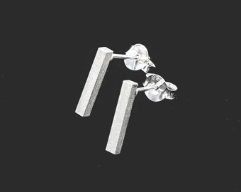 1 pair of 925 Sterling Silver Tiny Rectangle Stick  Stud Earrings 2x12mm., Matte finished  :er1082