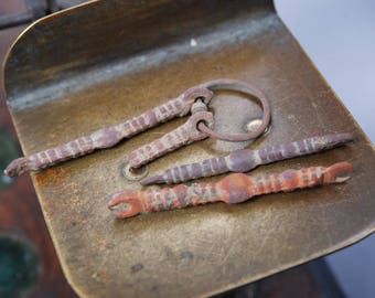 Set of 3 Antique brass connectors, stick, finding, original dark patina