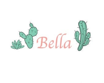 Cactus Wall Decals-Reusable Wall Decals- Nursery Wall Decals, Nursery Wall Stickers,Name, Monogram Wall Decal, Cactus, Cacti Decals, Kids