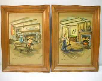 Vintage Set Of Paul Porter Framed Pictures The Wool Spinner And After The Hunt FREE SHIPPING