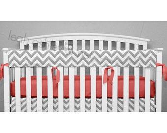 teething crib rail cover protector gray chevron coral ties optional crib sheet