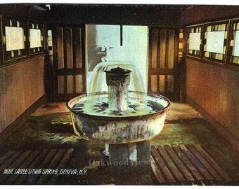 Geneva NY Blue Label Lithia Spring Postcard, Antique Ephemera c1910, Victorian Mineral Springs Fountain, FREE SHIPPING