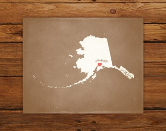 Customized Printable Alaska State Map - DIGITAL FILE, Aged-Look Personalized Wall Art
