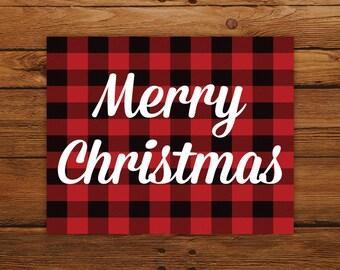 Buffalo Plaid Christmas Print, Merry Christmas Wall Art Poster, Rustic Christmas Decor