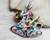 White Rabbit Brooch, White Rabbit Pin,  Alice in Wonderland Brooch, Alice in Wonderland Pin,  Wooden Brooch Pin