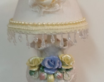 Re-purposed Vase Lamp with Embellished Shade