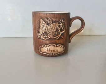 Vintage 1970's Faux carved Wood HAWAII Butterfly Souvenir Coffee Mug