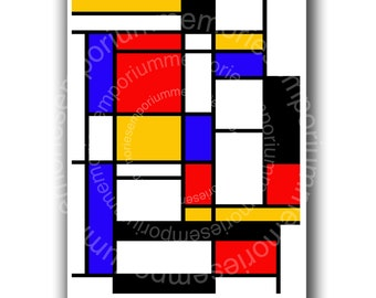 Mondrian esque Printable Clipart Download for DIY Place Mats Backgrounds Decoupage Crafts Modern Art Geometric Pattern 825