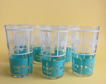 RESERVED FOR TD Vintage Fleur De Lis Glasses Set of 6 Aqua and White
