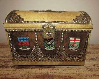 Vintage Treasure Chest Tin Canada