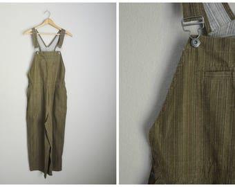 vintage linen blend brown olive green sttiped cropped capri overalls -- womens medium large