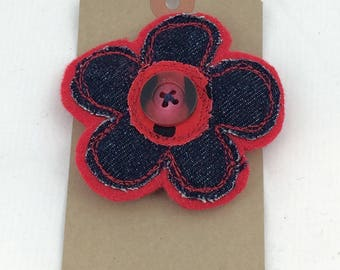 Denim and felt flower brooch,red felt brooch,recycled denim,flower brooch,fabric brooch,fabric flower,gift for her