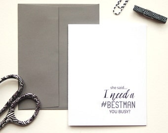 Will You Be My Best Man, Asking Groomsmen, Usher, Personalized Wedding Card, Wedding Stationary, Best Man Proposal, Set of 5