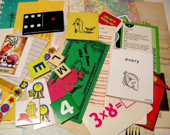 Vintage School Ephemera Pack*60+ Pieces*Embellishments*Daily Planner*Scrapbook Supply*Teacher*Junk Journal*Paper Ephemera*Old Book Pages*