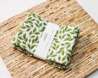Large Cloth Napkins - Set of 4 - (N4271) - Green Aqua Leaves All Over Modern Reusable Fabric Napkins