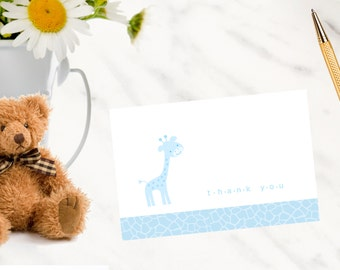 Colorful Giraffe Baby Shower Thank You Notes