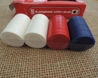 Polker Chips Red White Blue Game Pcs Poker Pcs. Hoyle Products Mpls MN Games Vintage Polker Chips