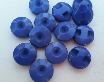14 Royal Blue Hole Shank Round Buttons Size 7/16.