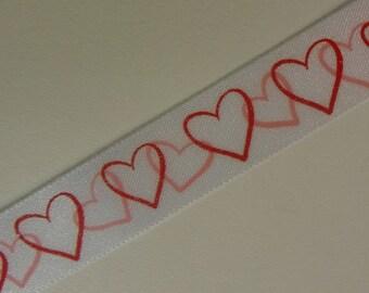 White Hooked Heart Valentine Ribbon 3 Yards