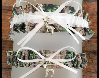 Sexy Realtree White Satin Wedding Keepsake Or Garter Set - Bridal Set - Pick Your Charm - Camouflage Prom Weddings Accessories
