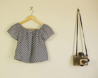 70s Off The Shoulder Top Made From Vintage Black and White Check Mod Print Fabric A