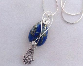 Judaica Gemstone and Hamsa Charm Necklace, Jewish Jewelry