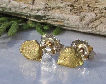 Gold Nugget Earrings - Gold Nugget Studs - Gold Earrings - Gold Nugget Jewelry - 14k Gold Earrings -  Natural Gold Nuggets - 14k Posts