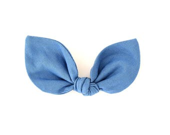 Denim Bow - Bunny Ears Headband - Baby Bow Headband - Girls Hair Bow Clip