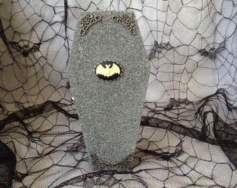 Grey Stone Look Bat Wood Coffin