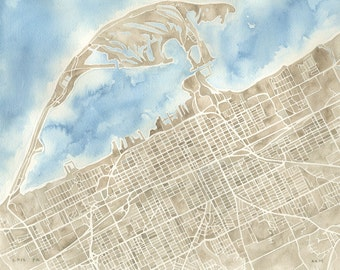 Erie Pennsylvania print watercolor city map