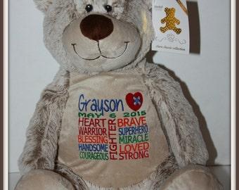 CHD, Bear,  Warrior Pet, personalized, stuffed animal