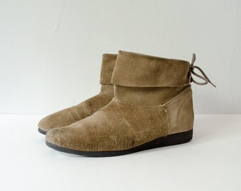 50% CLEARANCE SALE / 1980s vintage boots / tan suede ankle boots / Sweetbriar / 8.5