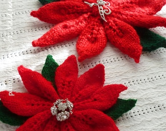 Flower Knit Pattern  PDF - Poinsettia brooch, Christmas wreath, tree ornament - INSTANT download