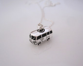 3d Volkswagen minibus minivan sterling silver charm pendant with necklace chain