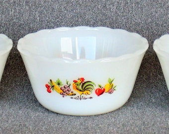 3 Fire King Hard-To-Find Chanticleer Pattern Crowing Rooster Fruit Custard Scalloped Side Bowls