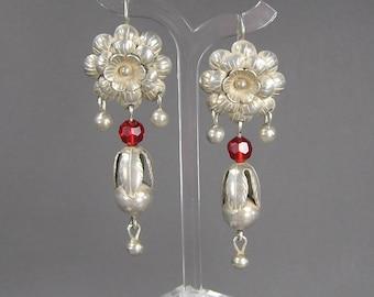 Sterling Flower Earrings, Statement Earrings, Dangle, Ethnic, Tribal, Boho, True Red Glass, Pierced Earrings, Vintage Jewelry