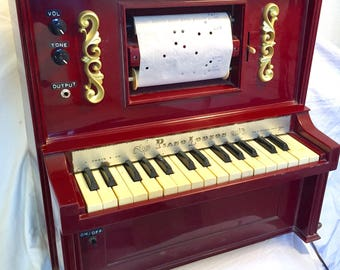Circuit Bent Electric Toy PLAYER Piano Musical Pianolodeon with several piano rolls