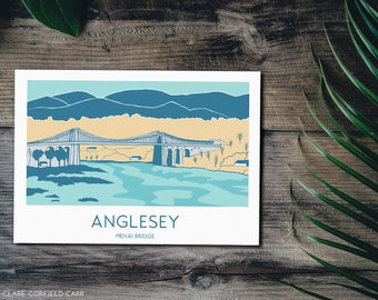 Menai Bridge Art Print | Anglesey | North Wales | 1950s style illustration | Cymru | Welsh