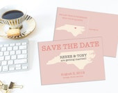North Carolina Save the Date Postcard, State Save the date, Destination Wedding, NC, Carolina Wedding, Instant Download, Editable Template