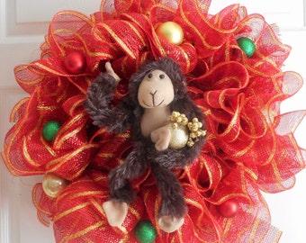 Christmas monkey wreath, deco mesh wreath, monkey, monkey wreath, ready to ship, Christmas wreath