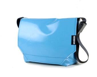 Messenger Bag made from Upcycled Truck Tarp, Water resistant Laptop Bag, Courier Bag, Satchel, Shoulder Bag (O03)