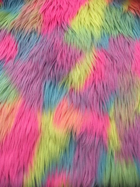 Patchwork 60 Quot Wide Faux Fur Fabric Unicorn Rainbow
