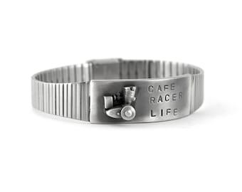 Café Racer Mens Silver Link Bracelet with Vintage Parts