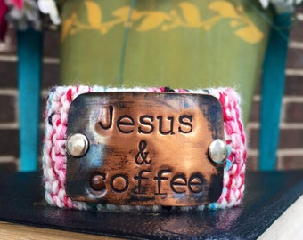 Jesus and Coffee Hand Stamped Bracelet, Personalized Scripture Jewelry, Religious Bracelet, Jewelry Under 50, Gift for Her