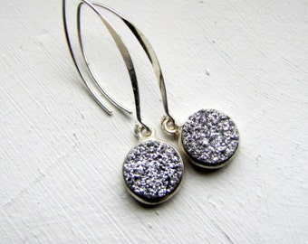 Silver Druzy Earrings Sterling Silver Earrings Drusy Earrings Modern Earrings Minimalist Earrings Evening Fashion Earrings Marquis