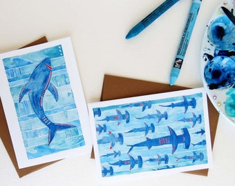 Shark Notecard Set - Great White and Hammerhead