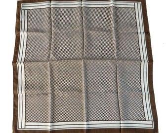 Vintage Checkerboard Scarf Brown and White Mint Unworn