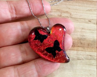 Cherry red orange dichroic fused glass heart pendant with black butterflies stainless steel chain 037
