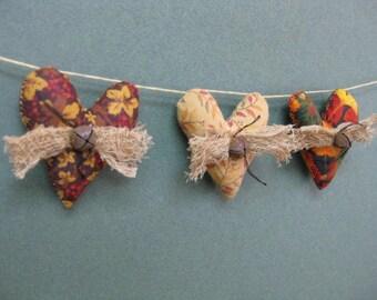 Primitive Fall Mini Heart Garland - 3 Small Grungy Fabric Stuffed Hearts - Primitive Autumn Mini Garland